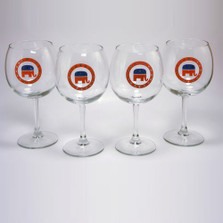 Republican Elephant Wine Glass Set | Richard Bishop | 2045REP