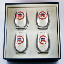 Republican Elephant Stemless Wine Glass Set | Richard Bishop | 2079REP