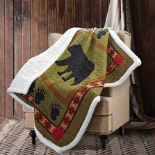Bear and Paw Green Quilted Throw Blanket | DQST649
