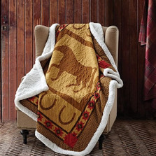 Horse Quilted Sherpa Throw Blanket | DQST656