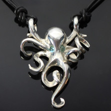 Octopus Silver Pendant Necklace Topaz Eyes | Anisa Stewart Jewelry | S1002-N