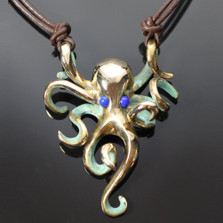 Octopus Bronze Pendant Necklace Lapiz Eyes | Anisa Stewart Jewelry | BRS1002-N