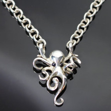 Octopus Silver Pendant on Link Chain Necklace | Anisa Stewart Jewelry | S1022HC