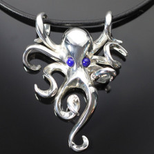 Octopus Silver Pendant on Cord | Anisa Stewart Jewelry | S1022