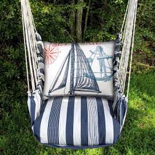 "Sailboat Hammock Chair Swing Striped ""Marina"" | Magnolia Casual | MATC504-SP-2"