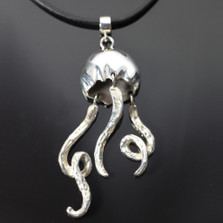 Jellyfish Silver Pendant on Cord | Anisa Stewart Jewelry | S1021