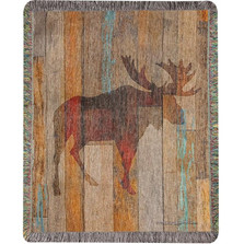 Moose Head Tapestry Throw Blanket | Manual Woodworkers | MWWATMEHD