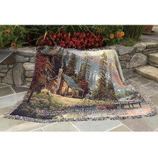 Lake Cabin Inspirational Tapestry Throw Blanket | Manual Woodworkers | ATPERV