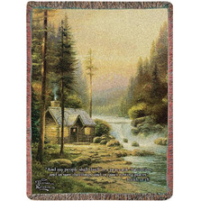 Cabin Inspirational Tapestry Throw Blanket | Manual Woodworkers | ATEFR