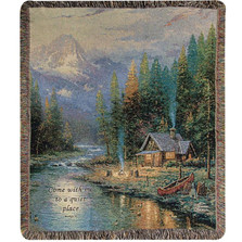 Cabin Inspirational Tapestry Throw Blanket | Manual Woodworkers | ATEPD2