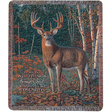 Deer Inspirational Tapestry Throw Blanket | Manual Woodworkers | ATASN