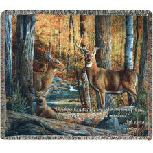 Deer Inspirational Tapestry Throw Blanket | Manual Woodworkers | ATBS2V
