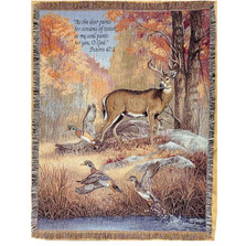 Deer and Duck Inspirational Tapestry Throw Blanket | Manual Woodworkers | ATPFFV