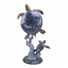 Mother-Baby Sea Turtle Brass-Marble Sculpture | BP25007 | SPI Home