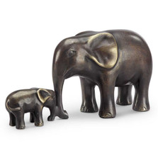 Elephant and Calf Sculpture | Affectionate Moment | SPI Home | 80350