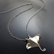 Manta Ray Bronze Pendant on Silver Chain | Anisa Stewart Jewelry | ASJBRS1017-C
