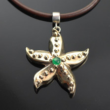 Starfish Bronze Pendant with Jade Necklace | Anisa Stewart Jewelry | ASJBRS1019-J