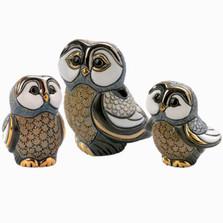 Blue Tawny Owl Family Figurine Set | De Rosa | Rinconada | F328A F328B F128