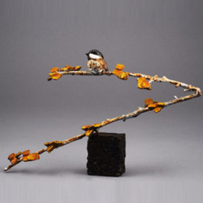 "Chickadee and Aspen Bronze Sculpture ""Aspen Cutie"" 