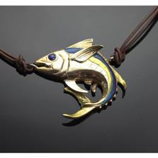 Yellowfin Tuna Bronze Pendant Necklace on Cord   Anisa Stewart Jewelry   ASJBRF1020-N