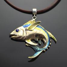 Yellowfin Tuna Bronze Pendant Necklace | Anisa Stewart Jewelry | ASJBRF1020