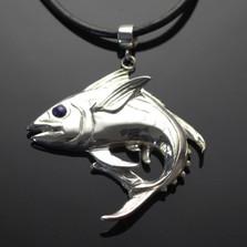 Yellowfin Tuna Silver Pendant Necklace   Anisa Stewart Jewelry   ASJF1020