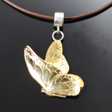 Butterfly Bronze Pendant Necklace on Cord | Anisa Stewart Jewelry | ASJBRW1011