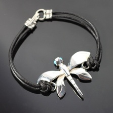 Dragonfly Sterling Silver Bracelet on Cord | Anisa Stewart Jewelry | ASJBW1020