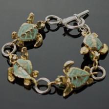 Loggerhead Turtle Bronze & Sterling Silver Link Bracelet | Anisa Stewart Jewelry | ASJBRBS1014-L