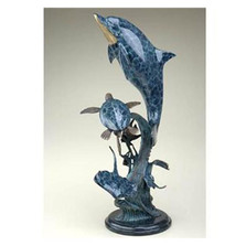 Dolphin Seaworld with Turtle Sculpture | BP25304 | SPI Home