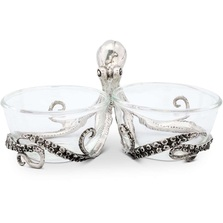 Octopus Glass and Pewter Condiment Bowls | Vagabond House | O416OP