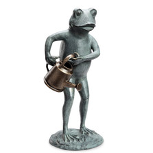 Frog with Watering Can Garden Sculpture | 34253 | SPI Home