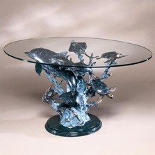 Dolphin Sea World Brass Marble Coffee Table | 30305 | SPI Home