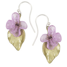 Lilac Flower and Leaf Wire Earrings | Michael Michaud Jewelry | 3209BZ