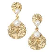 Sea Scallop Dangle Post Earrings | Michael Michaud Jewelry | 3218BZGSWP