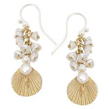 Sea Scallop Pearl Dangle Earrings | Michael Michaud Jewelry | 3219BZGSWP
