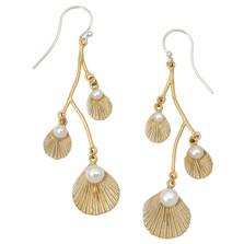 Sea Scallop Triple Dangle Earrings | Michael Michaud Jewelry | 3216BZGSWP