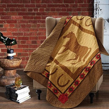 Horse and Horseshoe Quilted Throw Blanket | DQT656