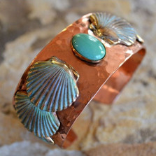 Scallop Shell Copper and Brass Cuff Bracelet | Elaine Coyne Jewelry | NOP19BC