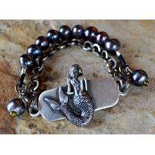 Mermaid Silver Brass Rockband Bracelet | Elaine Coyne Jewelry | MEAS686rb-5-6s