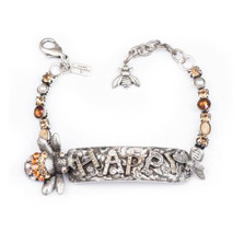 "Bee Pewter Bracelet ""Happy"" 