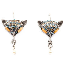 Fox Sparkly Eurowire Earrings | Nature Jewelry | ER-9610