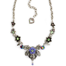 Bee and Flower Pewter Necklace   Nature Jewelry   NK-9521-AP
