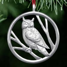 Owl Polished Pewter Ornament   Lovell Designs   LOVOR205