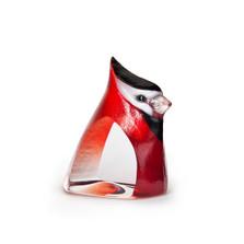 Red Birdie Painted Crystal Sculpture | 34259 | Mats Jonasson Maleras