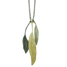 "Feather 20"" Tri Color Pendant Necklace 