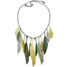 Feather Tri Color Necklace | Michael Michaud Jewelry | 9010BZSPGMG