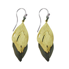 Feather Two Tone Gold Gunmetal Earrings    Michael Michaud Jewelry   3134BZGMG