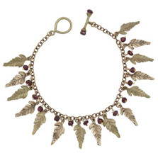 Fern and Garnet Charm Bracelet | Michael Michaud Jewelry | SS7264BZGN