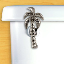 Palm Tree Toilet Flush Handle | Functional Fine Art | FFA00148chrome